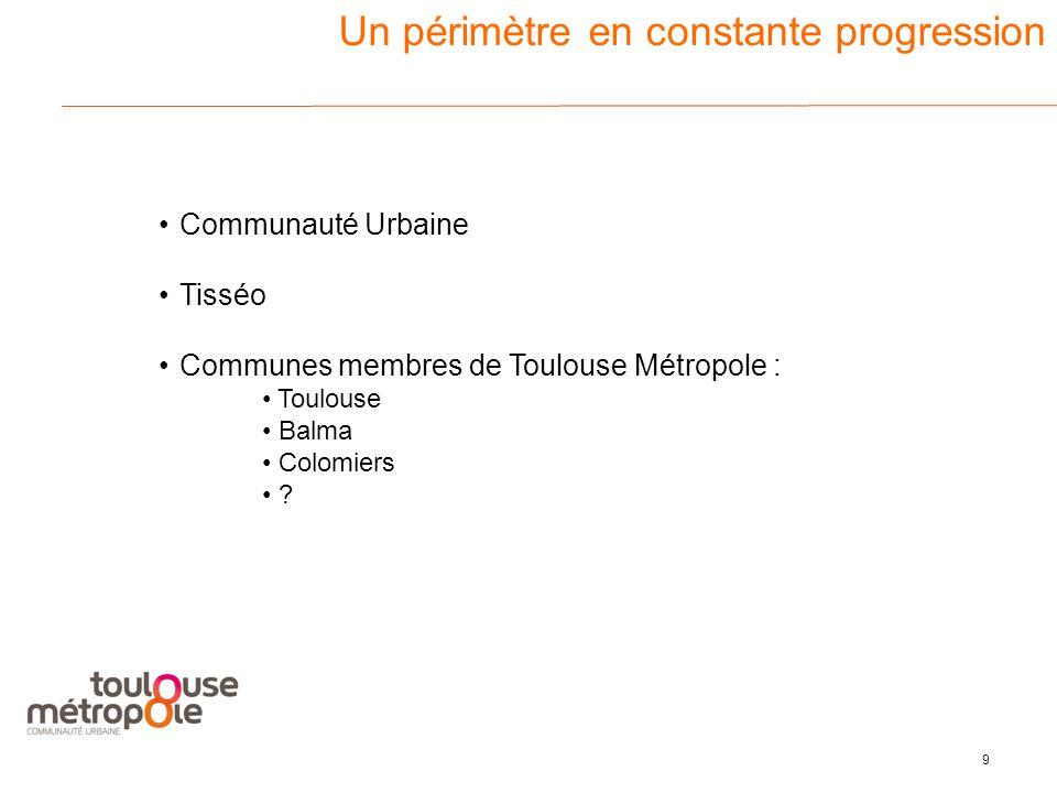 9 3 Un périmètre en constante progression Communauté Urbaine Tisséo Communes membres de Toulouse Métropole : Toulouse Balma Colomiers
