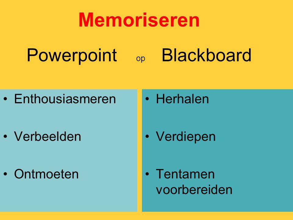Powerpoint op Blackboard Enthousiasmeren Verbeelden Ontmoeten Herhalen Verdiepen Tentamen voorbereiden Memoriseren