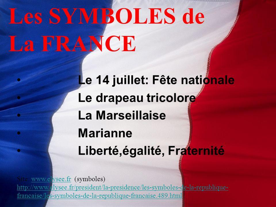 Le 14 juillet: Fête nationale Le drapeau tricolore La Marseillaise Marianne Liberté,égalité, Fraternité Les SYMBOLES de La FRANCE Site: www.elysee.fr (symboles)www.elysee.fr http://www.elysee.fr/president/la-presidence/les-symboles-de-la-republique- francaise/les-symboles-de-la-republique-francaise.489.html