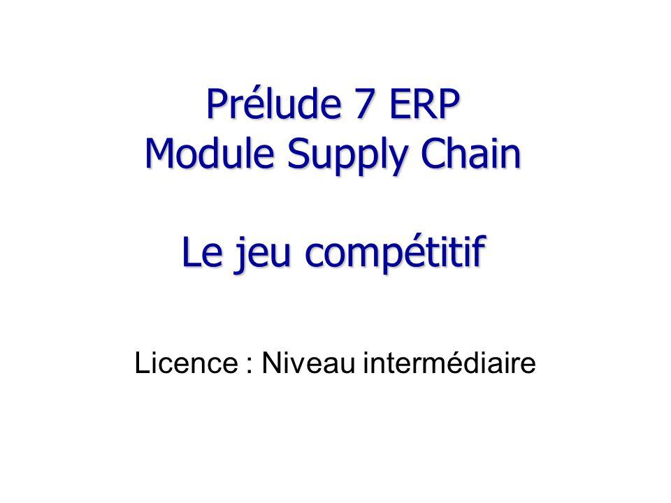 Prélude 7 ERP Module Supply Chain Le jeu compétitif Licence : Niveau intermédiaire