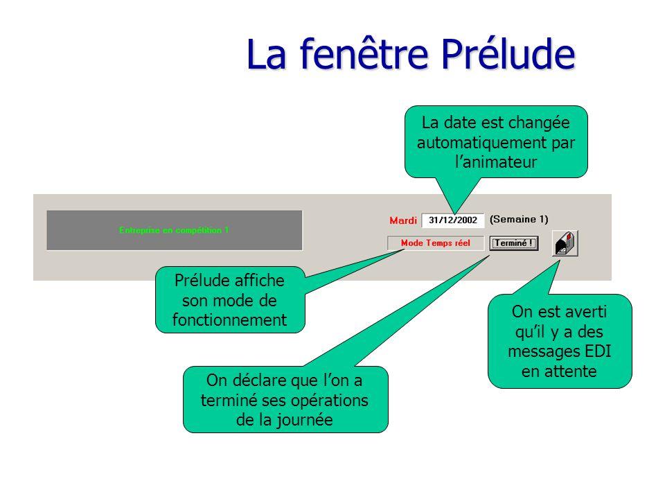 La fenêtre Prélude La date est changée automatiquement par l'animateur Prélude affiche son mode de fonctionnement On est averti qu'il y a des messages