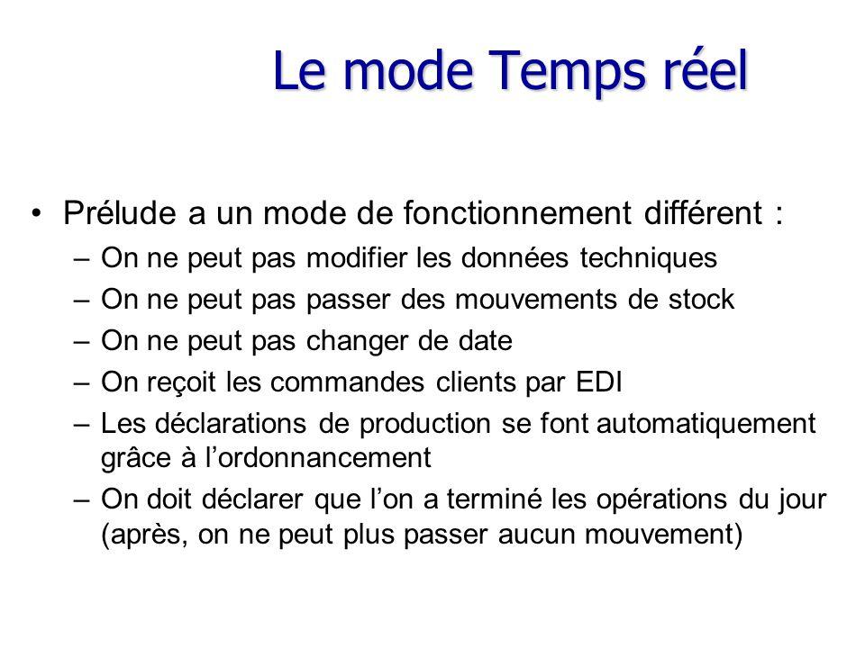 Le mode Temps réel Prélude a un mode de fonctionnement différent : –On ne peut pas modifier les données techniques –On ne peut pas passer des mouvemen