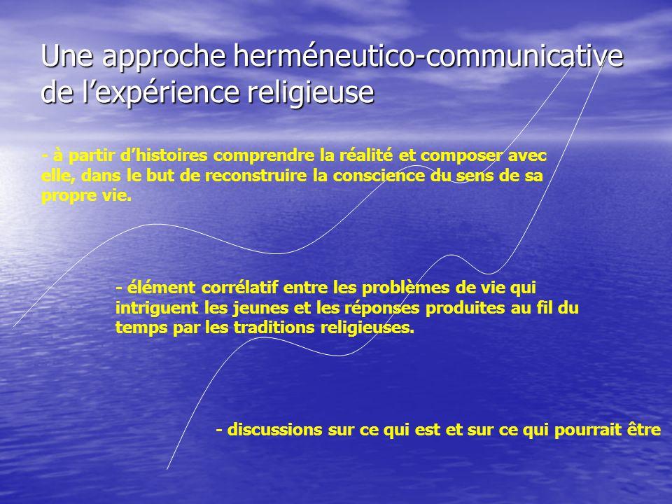 Une approche herméneutico-communicative de l'expérience religieuse - à partir d'histoires comprendre la réalité et composer avec elle, dans le but de reconstruire la conscience du sens de sa propre vie.