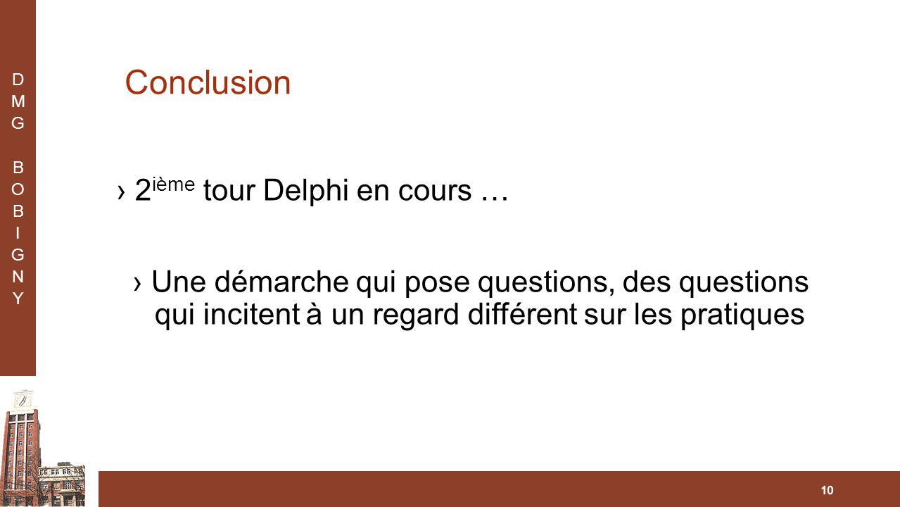 Conclusion ›2 ième tour Delphi en cours … ›Une démarche qui pose questions, des questions qui incitent à un regard différent sur les pratiques 10