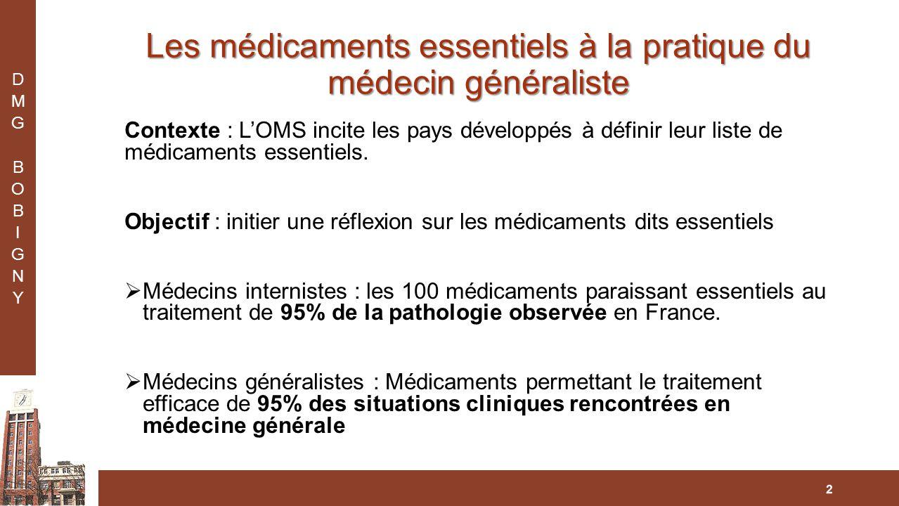 Les médicaments essentiels à la pratique du médecin généraliste Contexte : L'OMS incite les pays développés à définir leur liste de médicaments essentiels.