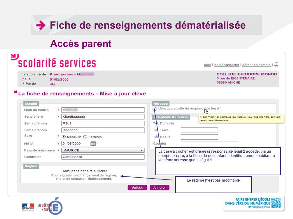 La case à cocher est grisée si responsable légal 2 accède, via un compte propre, à la fiche de son enfant, identifié comme habitant à la même adresse