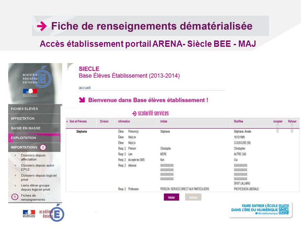 Titre de la présentation - Vendredi 12 juillet 2013 - Page ‹#› Accès établissement portail ARENA- Siècle BEE - MAJ