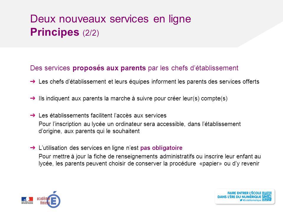 Deux nouveaux services en ligne Principes (2/2) Des services proposés aux parents par les chefs d'établissement ➔ Les chefs d'établissement et leurs é