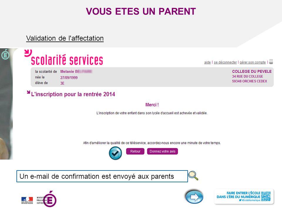 Titre de la présentation - Vendredi 12 juillet 2013 - Page ‹#› VOUS ETES UN PARENT Validation de l'affectation Un e-mail de confirmation est envoyé au