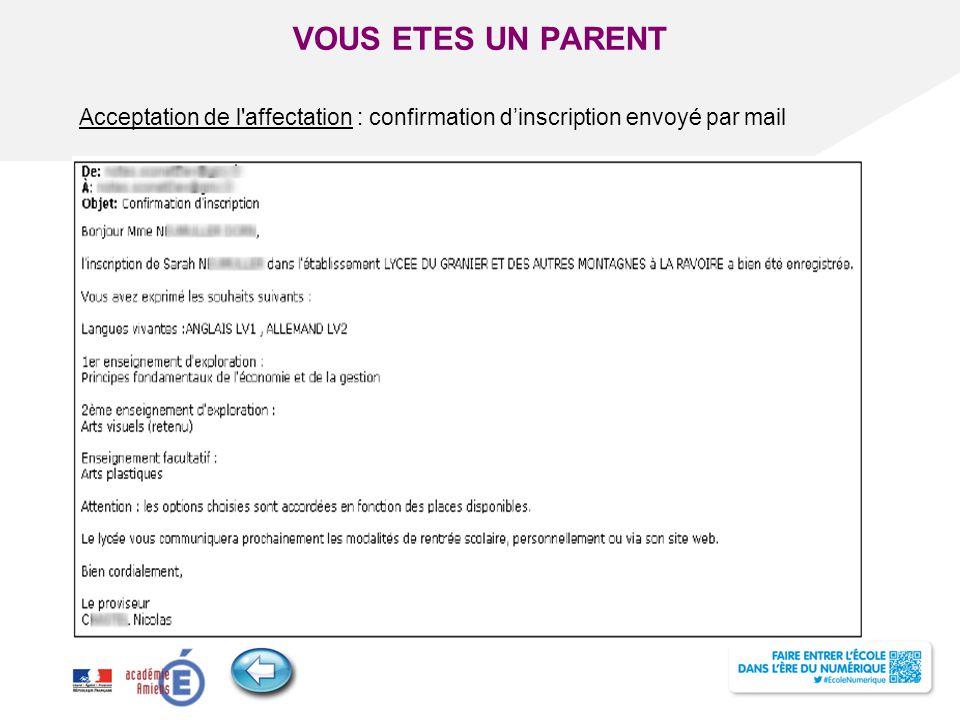 Titre de la présentation - Vendredi 12 juillet 2013 - Page ‹#› Acceptation de l'affectation : confirmation d'inscription envoyé par mail VOUS ETES UN
