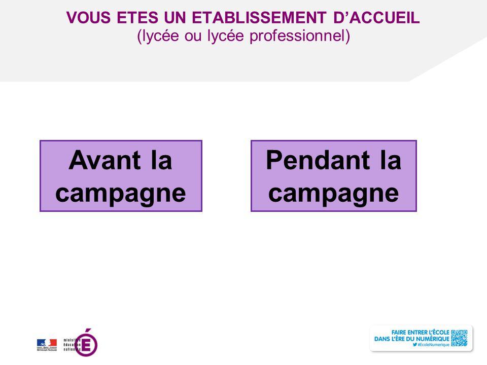Titre de la présentation - Vendredi 12 juillet 2013 - Page ‹#› VOUS ETES UN ETABLISSEMENT D'ACCUEIL (lycée ou lycée professionnel) Avant la campagne P