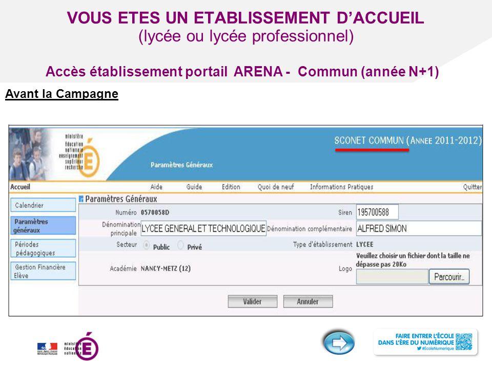 Titre de la présentation - Vendredi 12 juillet 2013 - Page ‹#› VOUS ETES UN ETABLISSEMENT D'ACCUEIL (lycée ou lycée professionnel) Avant la Campagne A