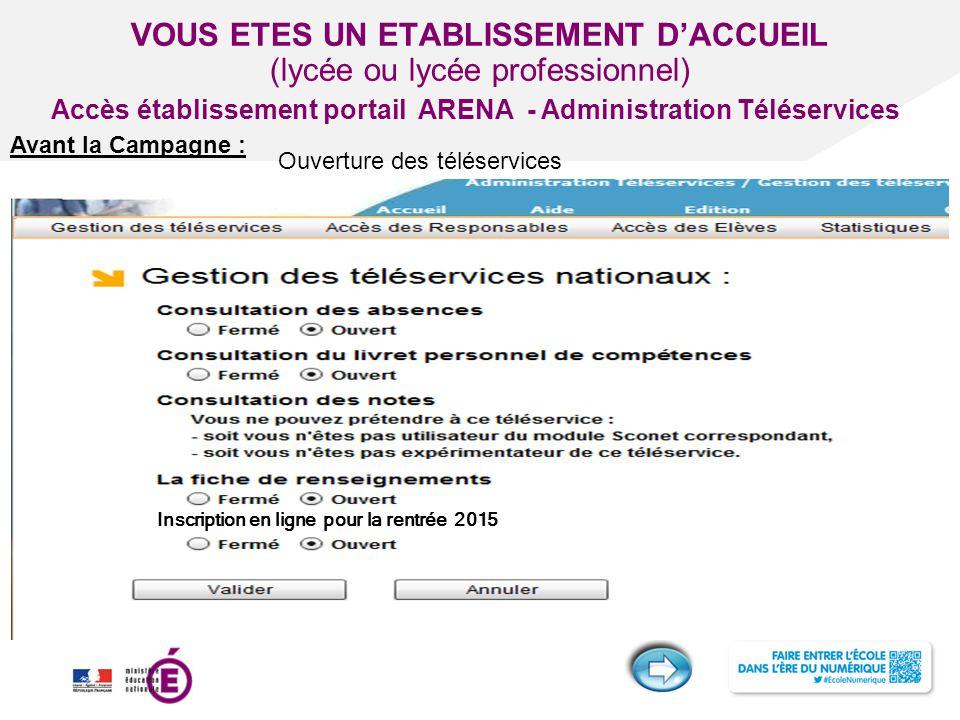 Titre de la présentation - Vendredi 12 juillet 2013 - Page ‹#› VOUS ETES UN ETABLISSEMENT D'ACCUEIL (lycée ou lycée professionnel) Ouverture des télés