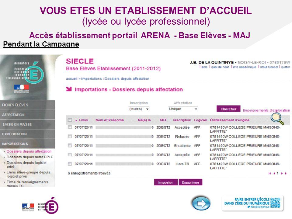 Titre de la présentation - Vendredi 12 juillet 2013 - Page ‹#› VOUS ETES UN ETABLISSEMENT D'ACCUEIL (lycée ou lycée professionnel) Pendant la Campagne