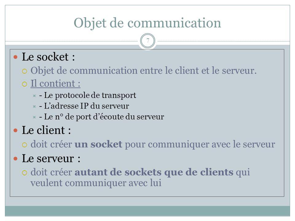 Objet de communication 7 Le socket :  Objet de communication entre le client et le serveur.