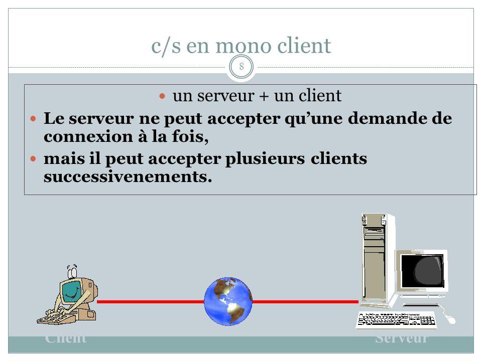 c/s en mono client 8 un serveur + un client Le serveur ne peut accepter qu'une demande de connexion à la fois, mais il peut accepter plusieurs clients successivenements.