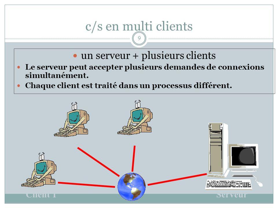 c/s en multi clients 9 un serveur + plusieurs clients Le serveur peut accepter plusieurs demandes de connexions simultanément.