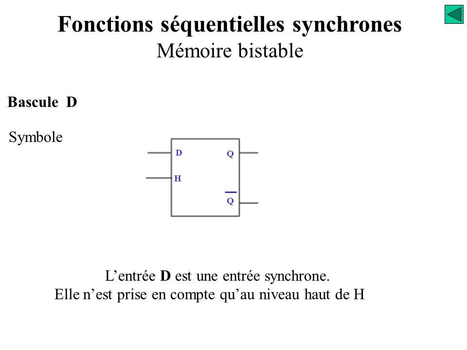 Bascule D Symbole D Q Q H La bascule D active sur le niveau 1 du signal de commande ' H ' est dite bascule D type LACH Fonctions séquentielles synchro
