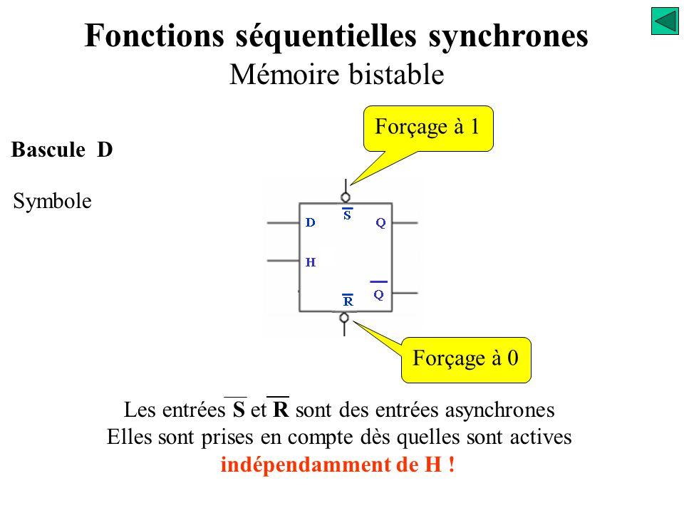 Bascule D Symbole D Q Q H Fonctions séquentielles synchrones Mémoire bistable L'entrée D est une entrée synchrone. Elle n'est prise en compte qu'au ni