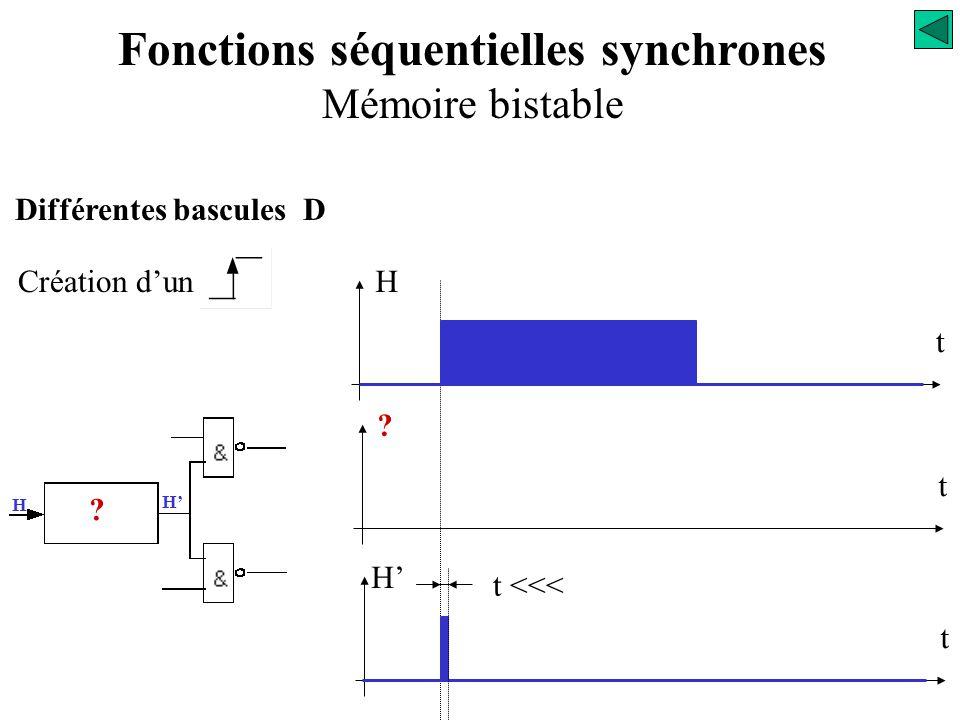 Différentes bascules D Il existe aussi des bascules D qui ne sont actives que sur le front montant ou sur le front descendant du signal de commande '