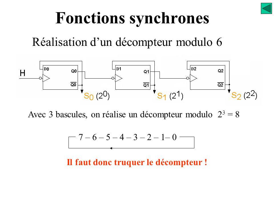 Fonctions synchrones Réalisation d'un décompteur modulo 6 5 – 4 – 3 – 2 – 1 – 0 Nombre de bascules nécessaires n = ? Il faut que 2 n > modulo du décom