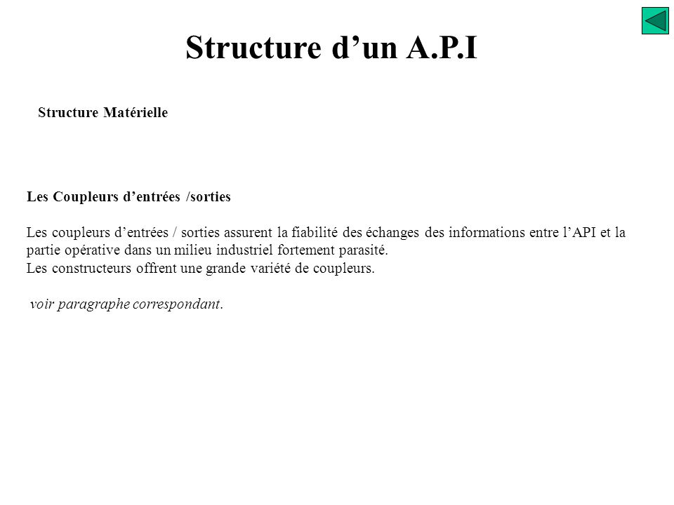 Structure d'un A.P.I Structure Matérielle ALIM UC Mémoire Gestion E/S Bus interne E/S Bus d'E/S Communication Extension Processeur Réseau 220VAC ou Al