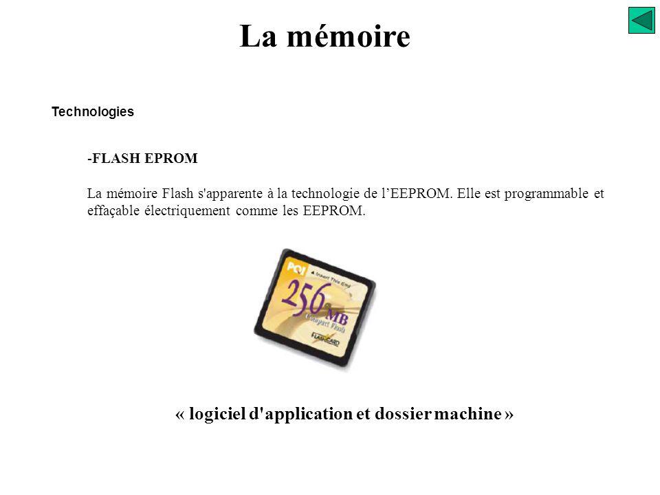 La mémoire Technologies Mémoires mortes ROM (Non volatiles) Non reprogrammable par l'utilisateur PROM - EEPROM reprogrammable par signal électrique «