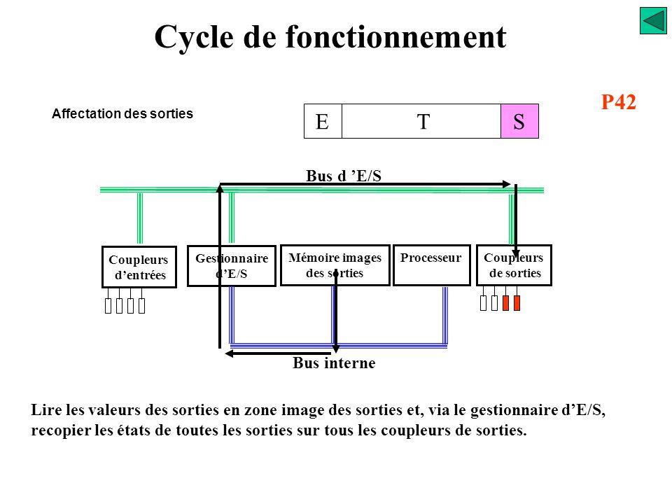 Cycle de fonctionnement Affectation des sorties Coupleurs d'entrées Gestionnaire d'E/S Mémoire images des sorties ProcesseurCoupleurs de sorties Bus d
