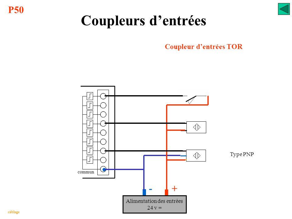 Coupleurs d'entrées Coupleur d'entrées TOR adressage % IX 03. 00 adapter et protéger traiter le signal ISOLER adapter à la logique de traitement visua