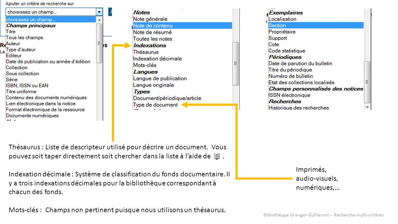 Imprimés, audio-visuels, numériques,… Thésaurus : Liste de descripteur utilisé pour décrire un document. Vous pouvez soit taper directement soit cherc