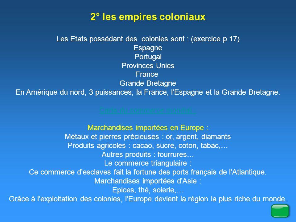 2° les empires coloniaux Les Etats possédant des colonies sont : (exercice p 17) Espagne Portugal Provinces Unies France Grande Bretagne En Amérique d