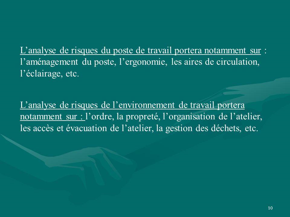 10 L'analyse de risques de l'environnement de travail portera notamment sur : l'ordre, la propreté, l'organisation de l'atelier, les accès et évacuation de l'atelier, la gestion des déchets, etc.
