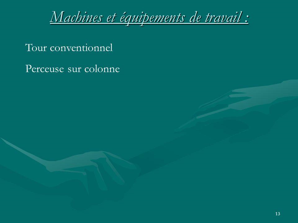 13 Machines et équipements de travail : Tour conventionnel Perceuse sur colonne