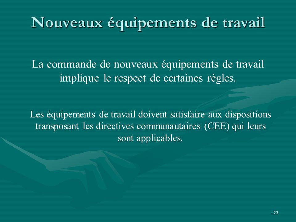 23 Nouveaux équipements de travail La commande de nouveaux équipements de travail implique le respect de certaines règles.