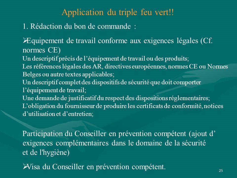 25 1.Rédaction du bon de commande :  Equipement de travail conforme aux exigences légales (Cf.