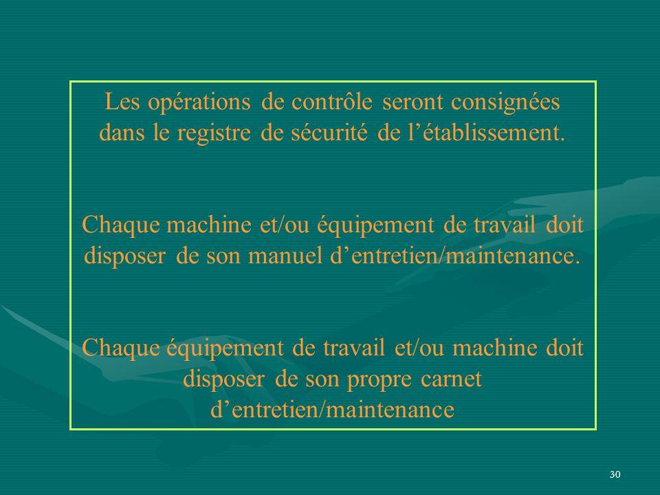 30 Les opérations de contrôle seront consignées dans le registre de sécurité de l'établissement.