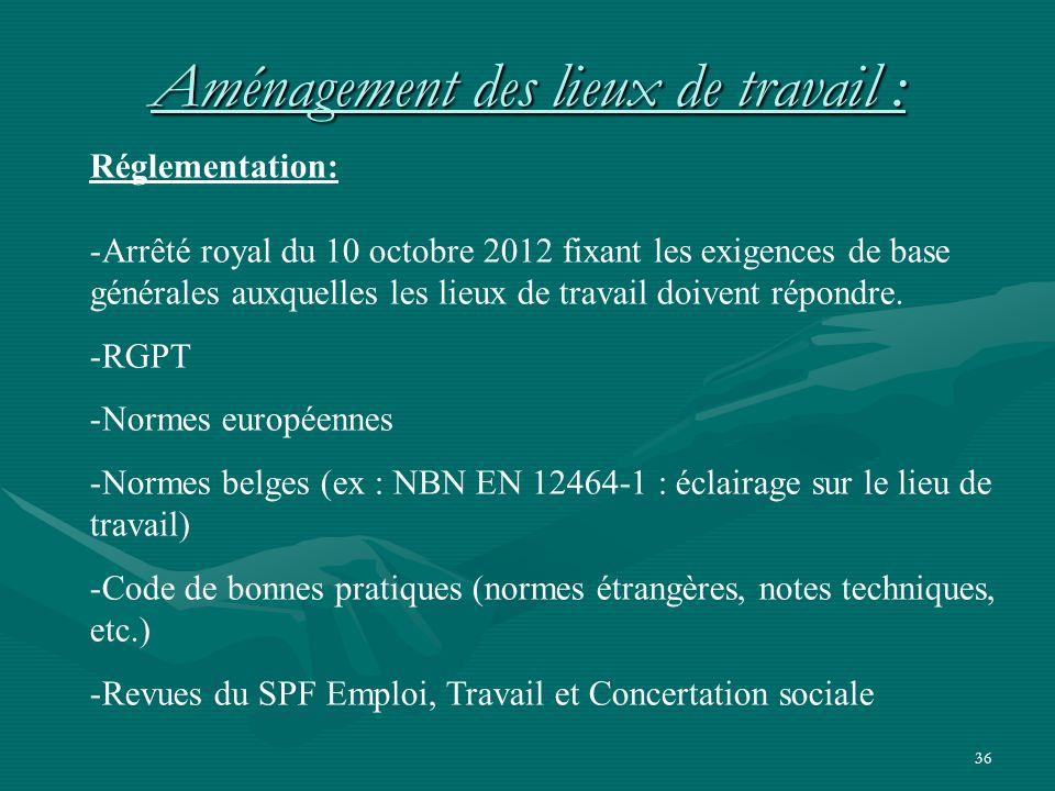 36 Réglementation: -Arrêté royal du 10 octobre 2012 fixant les exigences de base générales auxquelles les lieux de travail doivent répondre.