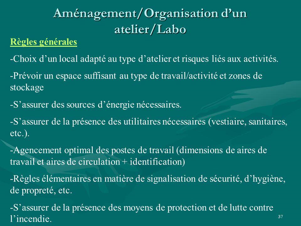 37 Aménagement/Organisation d'un atelier/Labo Règles générales -Choix d'un local adapté au type d'atelier et risques liés aux activités.
