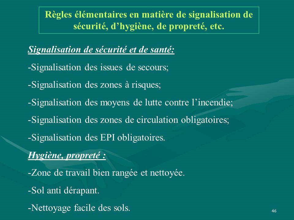 46 Règles élémentaires en matière de signalisation de sécurité, d'hygiène, de propreté, etc.