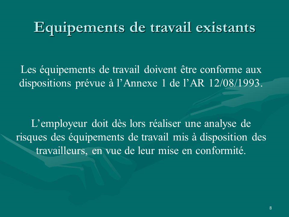 8 Equipements de travail existants Les équipements de travail doivent être conforme aux dispositions prévue à l'Annexe 1 de l'AR 12/08/1993.