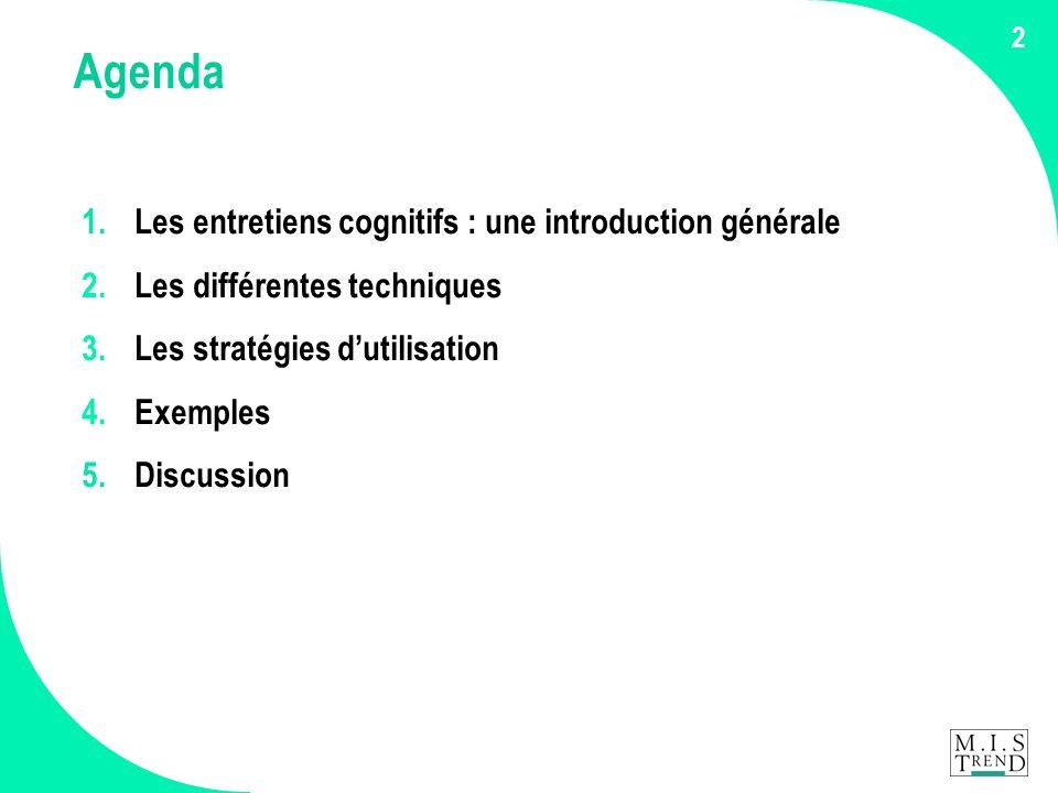 2 Agenda 1. Les entretiens cognitifs : une introduction générale 2.Les différentes techniques 3.Les stratégies d'utilisation 4.Exemples 5. Discussion