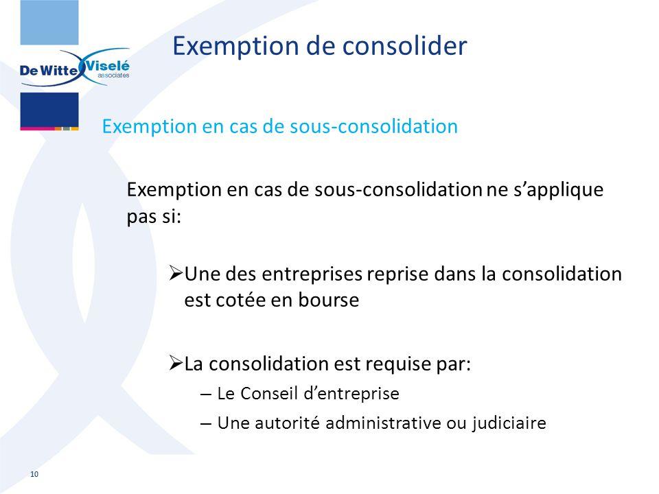 Exemption de consolider Exemption en cas de sous-consolidation Exemption en cas de sous-consolidation ne s'applique pas si:  Une des entreprises repr