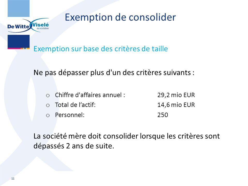 Exemption de consolider Exemption sur base des critères de taille Ne pas dépasser plus d'un des critères suivants : o Chiffre d'affaires annuel :29,2