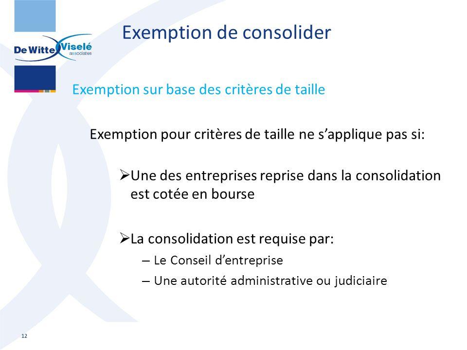Exemption de consolider Exemption sur base des critères de taille Exemption pour critères de taille ne s'applique pas si:  Une des entreprises repris
