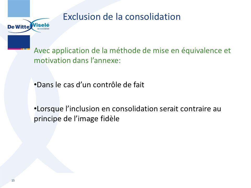 Exclusion de la consolidation Avec application de la méthode de mise en équivalence et motivation dans l'annexe: Dans le cas d'un contrôle de fait Lor