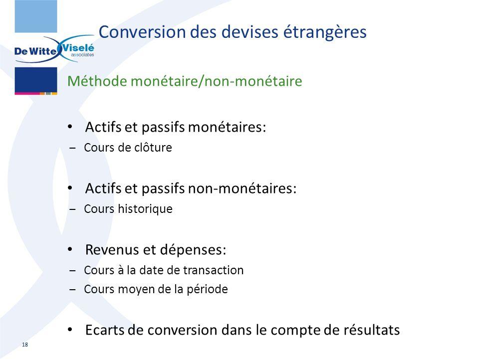 Conversion des devises étrangères Méthode monétaire/non-monétaire Actifs et passifs monétaires: ‒Cours de clôture Actifs et passifs non-monétaires: ‒C