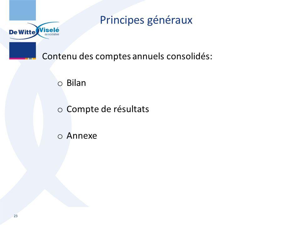 Contenu des comptes annuels consolidés: o Bilan o Compte de résultats o Annexe 23