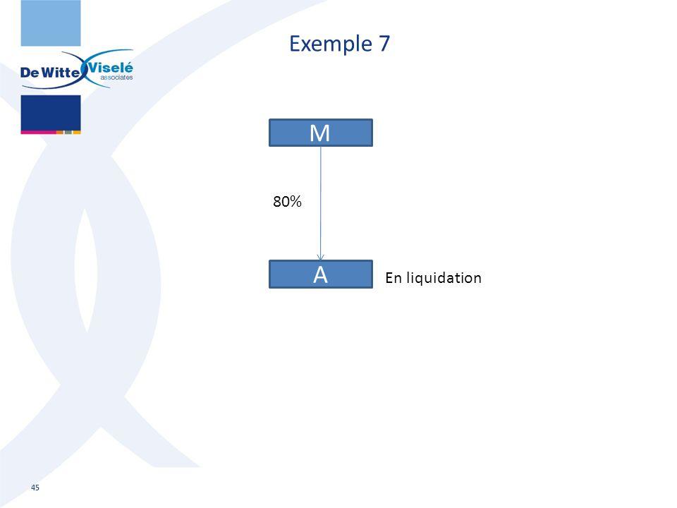 Exemple 7 45 M A 80% En liquidation