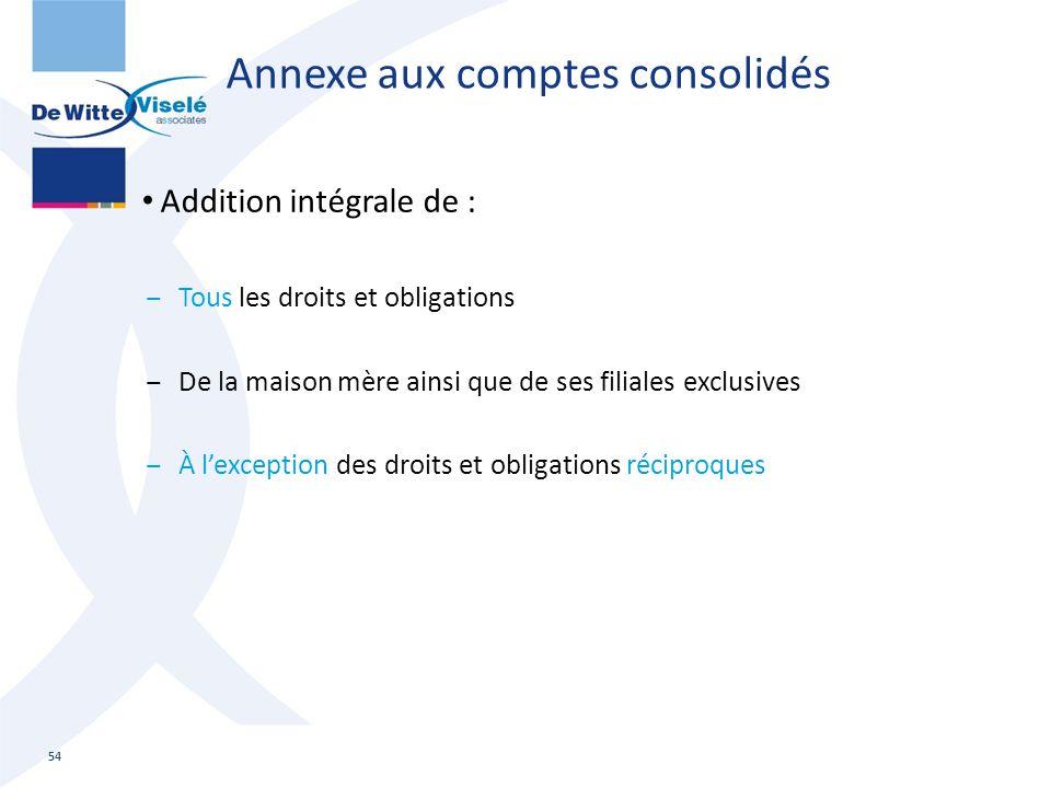 Annexe aux comptes consolidés Addition intégrale de : ‒Tous les droits et obligations ‒De la maison mère ainsi que de ses filiales exclusives ‒À l'exc