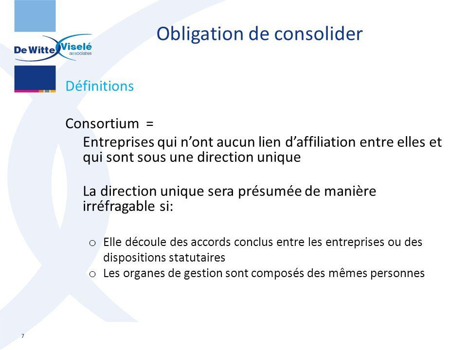 Obligation de consolider Définitions Consortium = Entreprises qui n'ont aucun lien d'affiliation entre elles et qui sont sous une direction unique La